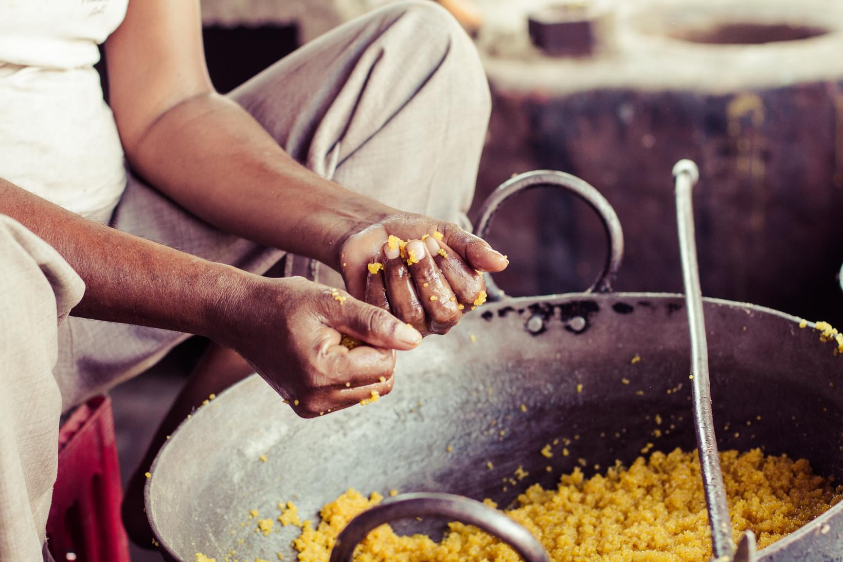 Photograph of Indian street food being made