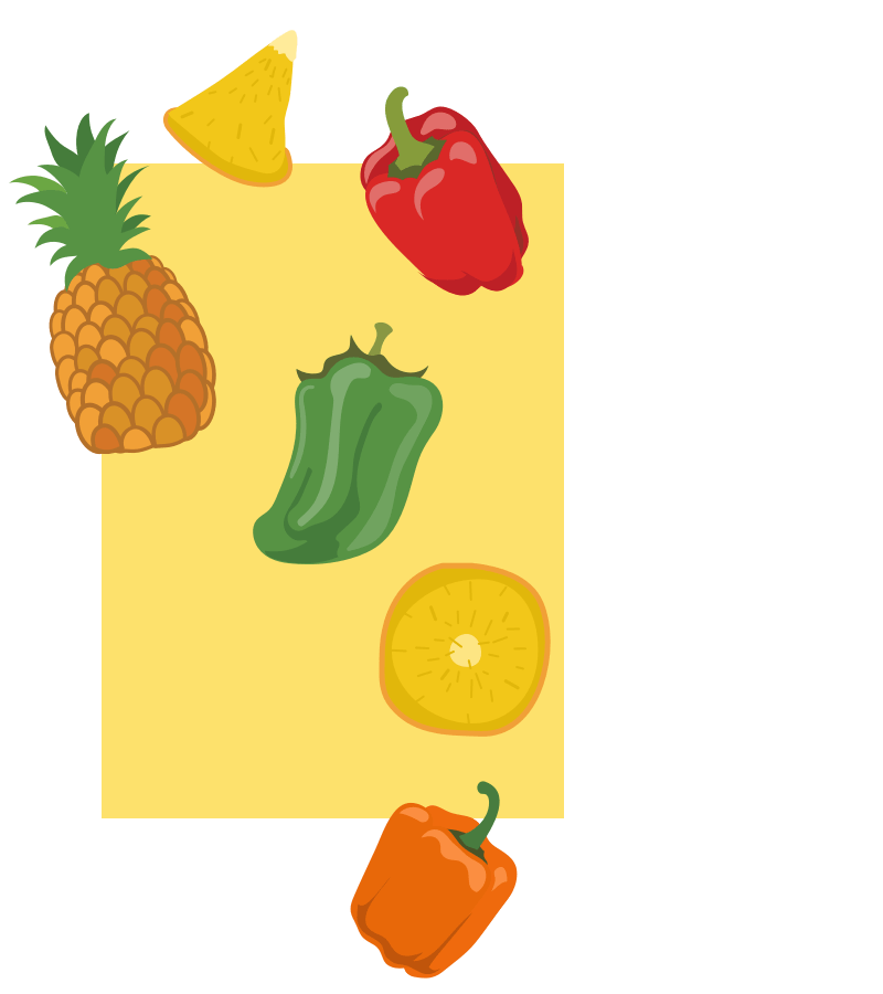 Chaat yogurt pineapple and bell pepper ingredients illustration