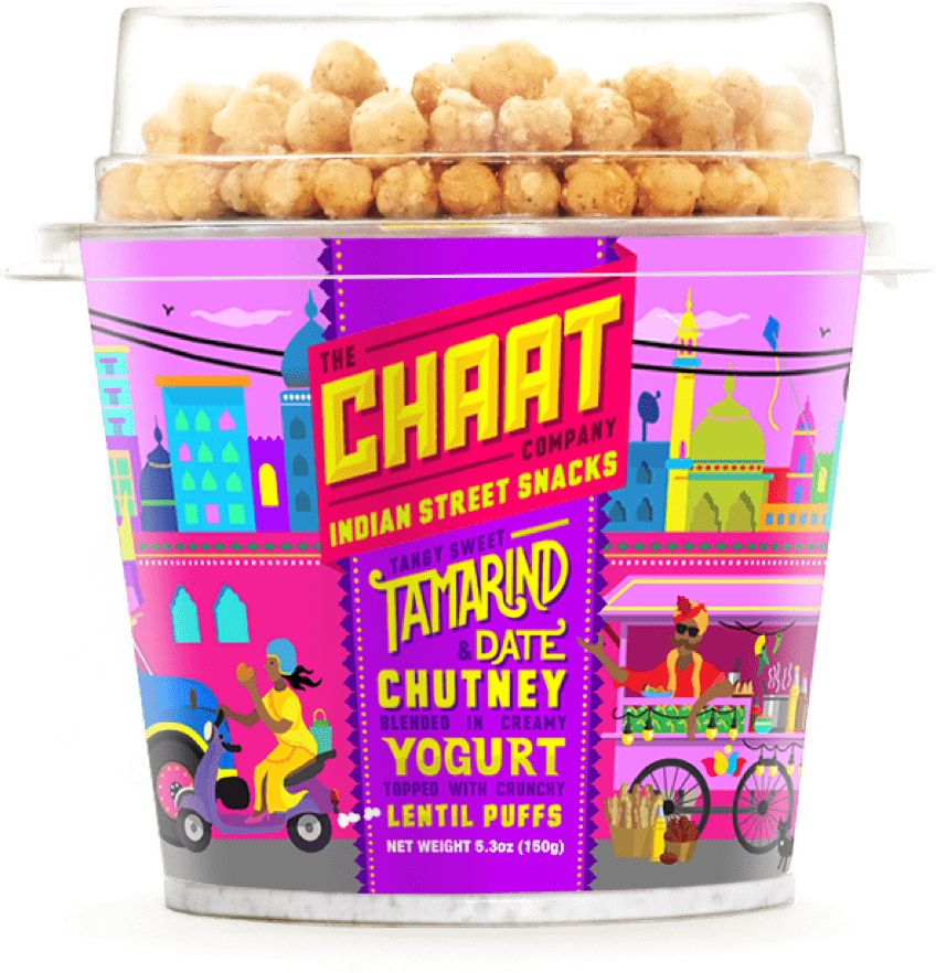 Chaat yogurt flavor with tamarind and date chutney blended in creamy yogurt topped with crunchy lentil puff