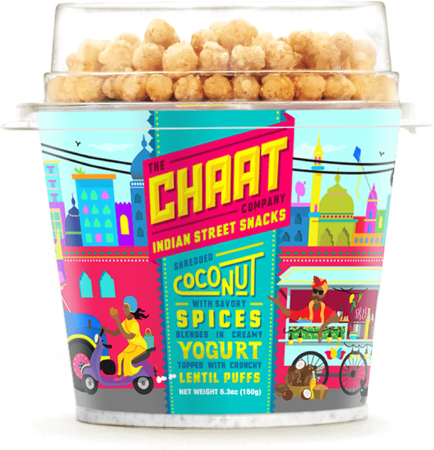 Chaat yogurt flavor with shredded coconut with savory spices blended in creamy yogurt topped with crunchy lentil puff