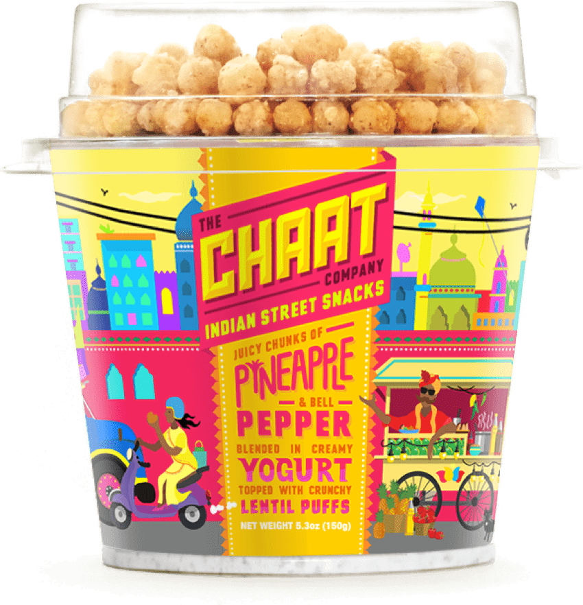 Chaat yogurt flavor with juicy chunks of pineapple and bell pepper blended in creamy yogurt topped with crunchy lentil puffs